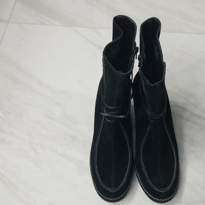 Black Suede Wedge Like Boots